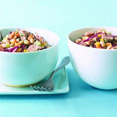 Ham and Black-Eyed Pea Salad:  You may think black-eyed peas are used only in soul food, but this salad proves that these fiber-rich legumes are a great addition to any meal. Savory ham and fresh dill create a spice-filled salad that is chock-full of crisp veggies. | Health.com
