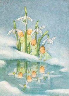 Vintage Postcard by Anna Marie Schwarz Torinus Art And Illustration, Vintage Fairies, Vintage Art, Elsa Beskow, Beautiful Fairies, Flower Fairies, Fairy Art, Belle Photo, Faeries