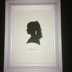 Girl with Pony Tail Precision Cut Silhouette Portrait with Engraved Name in White 5x7 Frame #girl #portrait #portraits #stephanie #silhoutte #art #framed #bespoke #custom #commissionart #commissioned #framedart #artwork #papercut #papercutartwork #papercutting #madeinengland #traditional #traditionalart #victorianstyle