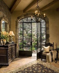 I dont know which is better, the doors or the courtyard?             French Country Home Garden Entrance, Country Chic, French Country Style, Country Front Porches, Country Cottage Living Room, Menu Planning, Food Menu, Kitchen Hacks, French Country Decorating