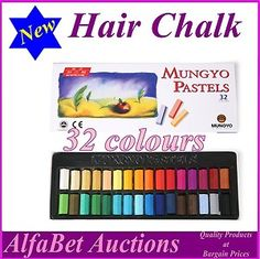 Hair Chalk, 32 colour box set, hair colour