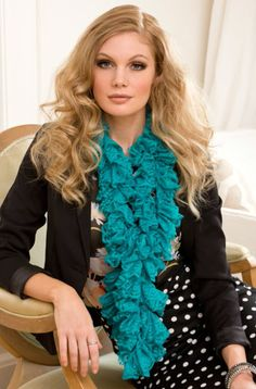 Red Heart® Boutique Sassy Fabric™ Sweetheart Ruffle Scarf #crochet #pattern