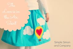 The Love is in the Air Skirt with printable template. Cute girls skirt that is easy to make!