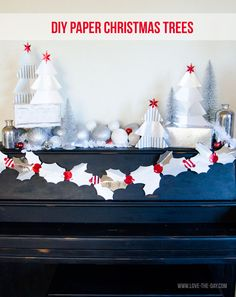 Spruce up your mantel with a DIY Paper Christmas Tree. Check out the full tutorial.