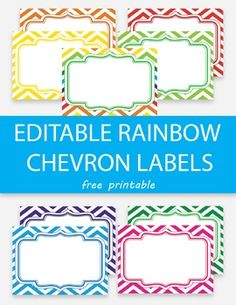 Free Editable Rainbow Chevron Labels, Editable Name Tags, Name Tag Templates, Free Label Templates, Labels Free, Poster Templates, Printable Name Tags, Printable Labels, Chevron Name Tags, Free Chevron Labels, Student Name Tags