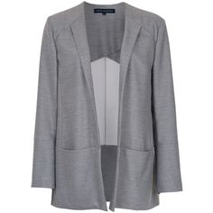French Connection Ivy Blazer, Light Grey Mel (4.280 RUB) ❤ liked on Polyvore featuring outerwear, jackets, blazers, blazer, long sleeve jacket, open front jacket, french connection blazer, lightweight jackets and light weight jacket