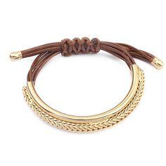 Esta pulseira de cordão deve ser um item na moda este ano para a barra de ouro com curva e design cordão ajustável. Nós amamos a usá-lo com jaqueta jeans