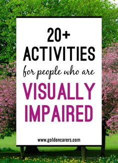 Visually-impaired activities Seniors with vision impairment will often require help with every day tasks. They may also require support to enable them to stay in touch with the community, friends and their leisure pursuits. Assisted Living Activities, Nursing Home Activities, Occupational Therapy Activities, Elderly Activities, Senior Activities, Dementia Activities, Activities For Adults, Art Therapy Activities, Work Activities