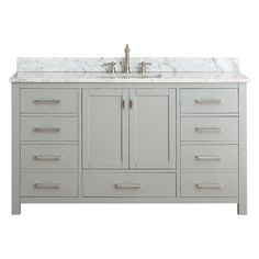WANT BREAKFRONT VANITY LIKE THIS - 4 FLAT FRONT DRAWERS ON EACH SIDE, 2 SHAKER DOORS IN MIDDLE, EXTRA DRAWER IN MIDDLE NICE; DARKER GRAY; NEED BIGGER SINK