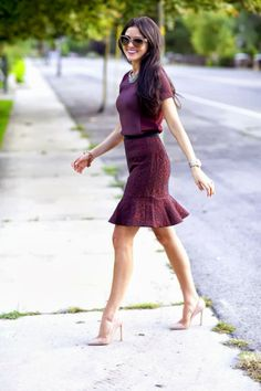 So feminine burgundy outfit with nude heels