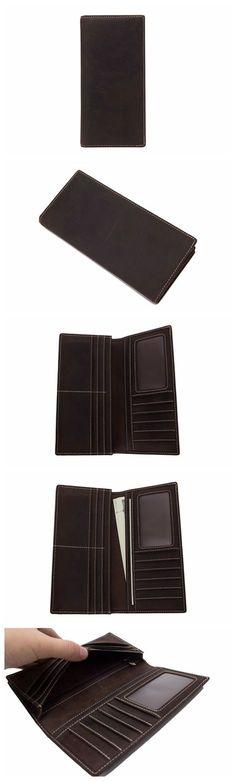 136d1cd64c Handmade Genuine Leather Wallet Men Long Wallet Money Purse Card Holder  196-1