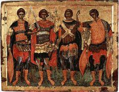 Serbian art / George Mitrofanovic / Icon of saints Demetrius, George, Artemius and Procopius from Chilandar monastery. Byzantine Icons, Byzantine Art, Religious Icons, Religious Art, Greek Icons, Russian Icons, Best Icons, Religion, Art Icon