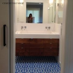 cement tile shop  LOVE the vanity and sinks!
