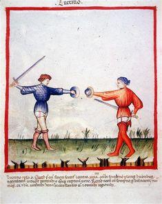 Swordfighting, Tacuinum Sanitatis (ÖNB Codex Vindobonensis, series nova 2644, fol. 96), c. 1370-1400