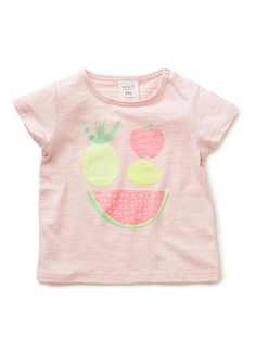 100% Cotton Tee. Slub jersey, short sleeve, crew neck tee. Snaps on baby's left shoulder-line for easy dressing. Features glittery ice-cream motif on front. Available in White, as shown.