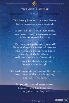 The Guest House: A Poem by Rumi #Rumi #TheGuestHouse #Mindfulness #Poetry…