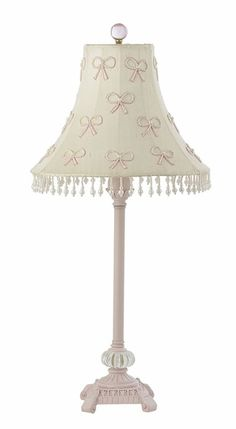lamp for little girl's room, need to paint but not this shade, use pompon trim