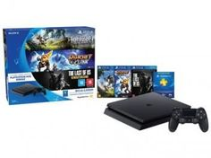 Playstation 4 500GB Sony Playstation Hits Bundle - 1 Controle 3 Jogos 1 Voucher PS Plus 3 meses