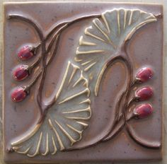 Stone Hollow Tile handmade tile relief arts and crafts tile inspired by styles of the past with themes of nature Ceramic Tile Art, Clay Tiles, Glass Ceramic, Art Tiles, Pottery Sculpture, Pottery Art, Pottery Ideas, Craftsman Clocks, Craftsman Tile