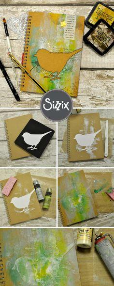 How To Make A Little Bird Ideas Book, Journal Or Scrapbook Using Sizzix Dies - DIY journal - papercraft journal - diecutting