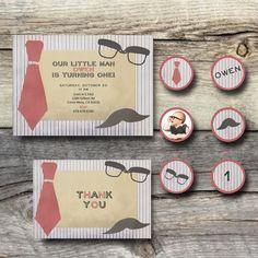 Little Man Birthday Set Printables - Invitation, Thank You Postcard, Cupcake Toppers. $18.00, via Etsy.