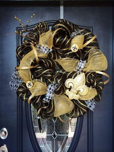 New Orleans Saints Wreath by EvansDoorDecor on Etsy