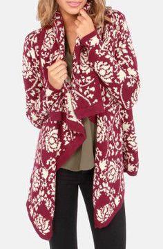 Take Leaf Burgundy Floral Print Cardigan Sweater