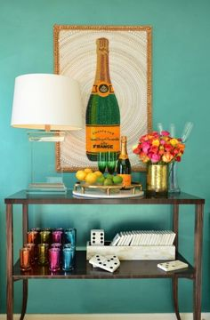 Dalliance Design - living rooms - teal walls, beaded art, beaded wall art, champagne art, painting made with beads, crystal lamp, crystal ta...
