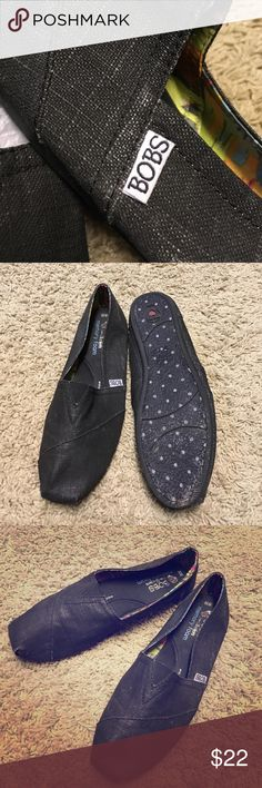 Skechers Bobs Slip-On Flat Like new condition, only worn once. Very comfortable - just too small for me!  Similar to Toms and with a cushioning memory foam insole. Just a slight silver thread running through the black canvas. Skechers Shoes Flats & Loafers