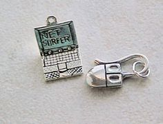 Charms, Computers: Computer Net Surfer and Mouse Sterling Silver Charms (2) #Traditional