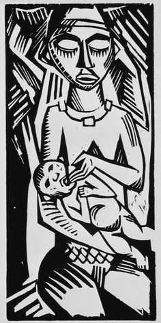 Max Pechstein (Germany, 1881-1955), Infant / Saugling, circa 1918. Woodcut on wove paper, image: 8 15/16 x 4 5/16 in. The Robert Gore Rifkind Center for German Expressionist Studies at LACMA.