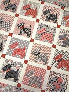 Mom, any chance i could get you to make this Scottie quilt for a girl at work? I& buy the fabric. Dog Quilts, Cute Quilts, Animal Quilts, Quilting Projects, Quilting Designs, Sewing Projects, Quilt Baby, Applique Quilts, Quilt Blocks