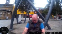 'Dark Justice' pose online as children to try and weed out sexual predators online who target minors with the intention to meet up and sexually interact with them. They approach this man in a public place and tell him the police are on the way.