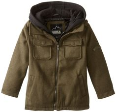 iXtreme Little Boys' Solid Wool Mock 2 In 1 Jacket, Olive, 6. Zip front mock vest inner closure with zip front detail on wool jacket. Side entry pockets with patch pockets on chest. Fleece hood.