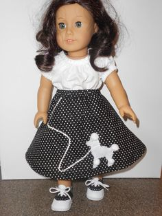American Girl Poodle Skirt Blouse and Matching Shoes by slksewing, $18.99