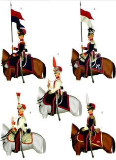 The Duchy Of Warsaw. :Uhlans 1. 16th Lancers Elite Company.  2. 15th Lancers.3. 15th Lances Elite Company, Trumpeter 4. 9th Lancers Elite Company, Trumpeter. 5. 16th Lancers, Elite Company Officer