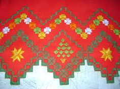 Resultado de imagem para ponto reto Bordado Tipo Chicken Scratch, Bargello, Needlepoint, Bohemian Rug, Cross Stitch, Embroidery, Canvas, Holiday Decor, Christmas
