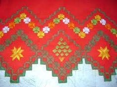 Resultado de imagem para ponto reto Bordado Tipo Chicken Scratch, Bargello, Needlepoint, Crochet, Bohemian Rug, Cross Stitch, Embroidery, Holiday Decor, Drawings