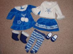 American Girl Bitty Baby Blue White Sweater Dress Tights Shoes Outfit Set Lot #AmericanGirl #ClothingShoes
