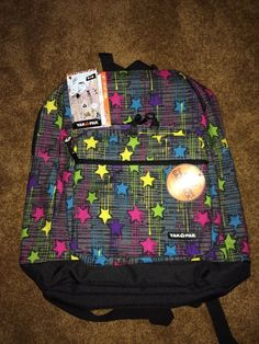 """NWT YAK PAK Mult-Colored Stars and Splashes 6707 Deluxe Student Backpack 17"""" #YakPak #Backpack"""