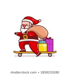 Stock Photo and Image Portfolio by Imajin No asking | Shutterstock Santa Cartoon, Gifts Delivered, Cartoon Characters, Fictional Characters, Royalty Free Stock Photos, Illustration, Artist, Christmas, Image