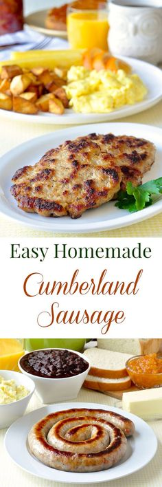 Cumberland Sausage Cumberland Sausage – mildly spiced with common herbs and spices, this traditional meaty British sausage has little filler, freezes well, and can be stuffed into sausage casings or formed into patties. Sausage Spices, Sausage Meals, How To Make Sausage, Sausage Making, Food Dishes, Main Dishes, Love Food, A Food, Cumberland Sausage