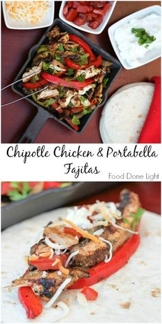 The best fajitas I've ever made. Chipotle Chicken & Portabella Mushroom Fajitas Low Calorie, Low Fat, Healthy Dinner Recipe for a kid friendly meal Healthy Chicken Recipes, Turkey Recipes, Healthy Dinner Recipes, Mexican Food Recipes, Cooking Recipes, Healthy Meals, Asian Recipes, Tamales, Quesadillas