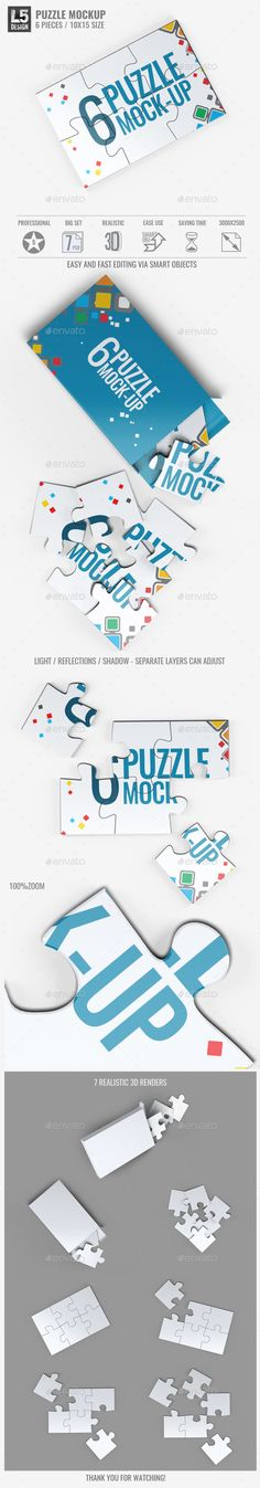 Buy Puzzle 6 Pieces Mock-Up by on GraphicRiver. Puzzle 6 Pieces Mock-Up Smart objects used allows you to replace design Puzzles 6 Pieces Mock-Up item contents . Business Flyer Templates, Mockup Templates, Mockup Photoshop, Puzzle Shop, Information Graphics, Box Design, Presentation Templates, 3 D, Graphic Design
