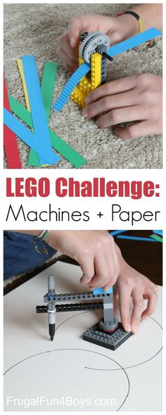 LEGO Building Challenge: Machines + Paper Here are two fun LEGO machines to build – a paper crimper and a circle drawing device! Challenge kids to build these designs or invent their own. This is a great project for a LEGO club! What other machines can y