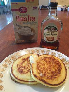 Betty Crocker Gluten-Free Rice Blend Flour-recipe for pancakes  1cup flour blend 1 tbsp baking powder 1/2 tsp salt 1 egg 1 cup milk 2 tbsp oil  Mix, fry in skillet. Great, fluffy pancakes!!