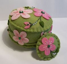 Pink Pansy on Pea Green Pincushion by TheDailyPincushion on Etsy, $28.00