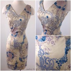 Designed by Audrey and manufactured in Burbank CA, the Lorraine Mae dress simply debonair.  This beautiful dress is made out of a gorgeous gold and blue asian floral stretch fabric. It's features a fitted bodice, waist and skirt and is for sure to compliment your curves. The alluring v-neckline is sexy but also discrete and offers full coverage. The back of the dress is just as glamorous with a matching v-back and kick pleat.
