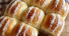 Soft milk buns added with natural yeast for better aroma and texture. The buns were filled with moist grated coconut swe. Coconut Buns, Milk Bun, Resep Cake, Palm Sugar, Apple Crisp, Bread Rolls, Recipe Collection, Bread Recipes, Save Recipe