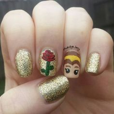 """Beauty and the Beast"" Manicure. There's nothing beastly about this glittery design. We especially love the rose and princess accent nails. Cute Acrylic Nails, Cute Nails, Pretty Nails, Little Girl Nails, Girls Nails, Kid Nails, Minion Nails, Beauty And The Beast Nails, Beauty Nails"